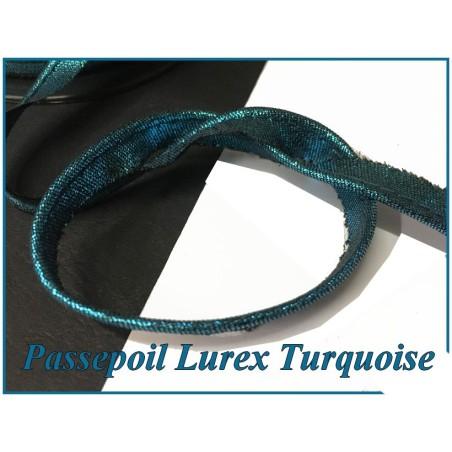 Passepoil Lurex Turquoise Pour Finitions Et Bordure De Vetements