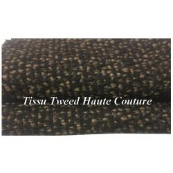 """Tissu Style """"Chanel"""" Tweed Au Mètre En Noir Et Choco Haute Couture."""