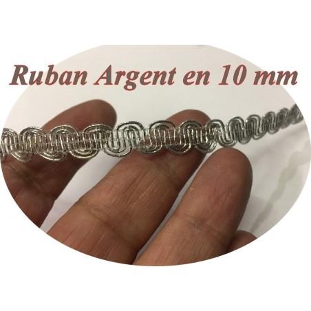 Ruban Galon En 1 Cm Argent pour Décorations.