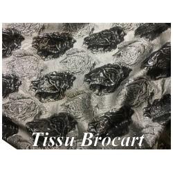 Tissu Brocart Argenté Au Mètre De Luxe En Motifs Fleurs Noir Pour Robes, Tailleurs Et Caftans