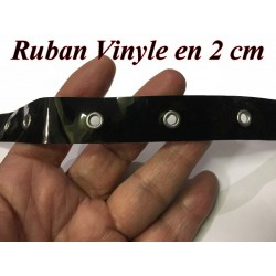 Ruban œillet Cuir Vinyle Brillant Noir A Coudre Pour Agrafage Et Serrage