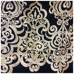 Tissu Velours Noir Brodé Or En Grande Largeur Pour Vetements Et Ameublement