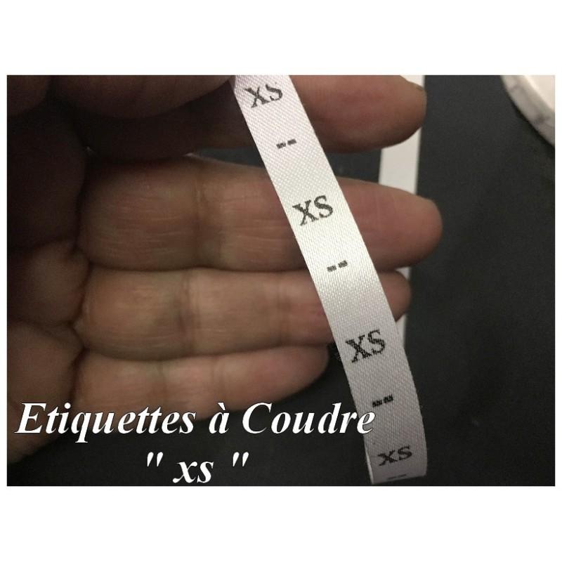 """1000 Etiquettes De Vêtements Taille """" XS"""" A Coudre De Composition Textile , Contexture Pour Confection."""