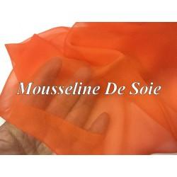 Tissu Mousseline De Soie Orange Au Mètre.