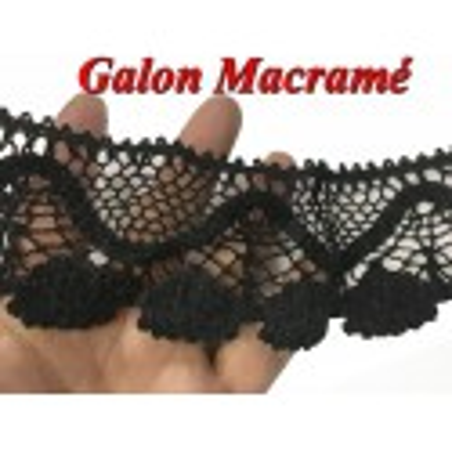 Galon Macramé En 6 Cm Noir Ajouré .