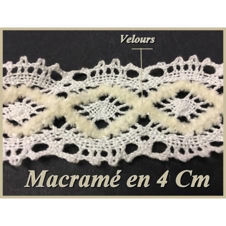Galon Macramé En 4 cm Blanc En Entre Deux, A Coudre Pour Décorations Et Loisirs Créatifs
