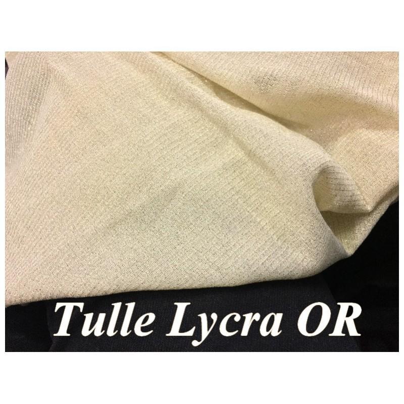 Tulle Résille Or Lycra EN 1 Mètre 85 De Largeur pour justaucorps, Danse, Lingerie.