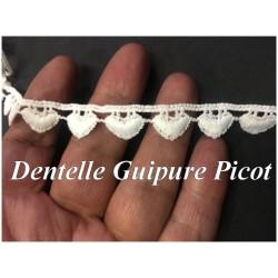 Dentelle Guipure En Picot Au Mètre Blanc.