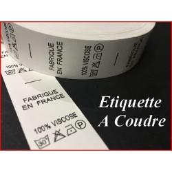 """Etiquettes De Vêtements """" 100 % Viscose """" x Par 1000 Pièces A Coudre De Composition Textile , Contexture."""