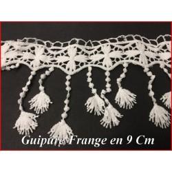 Guipure Frange Blanche Au Mètre En 9 cm Pour Décorations Et Customisations