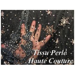 Tissu Haute Couture Pérlé Sur Résille Noir Pour La Créations De Robes De cocktail, Cérémonies Et Caftans.