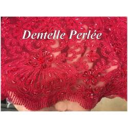Dentelle Rouge Perlée En Grande Largeur , Pour Robes De Cerémonie, Bustier Et Lingerie De Luxe.