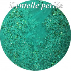 Dentelle Vert Emeraude Perlée En Grande Largeur , Pour Robes De Cerémonie, Bustier Et Lingerie De Luxe.