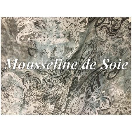 Mousseline de Soie Haute Couture Imprimé cashemire.