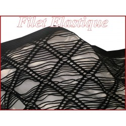 Tissu filet lycra noir en grande largeur,ajourés en carrées.