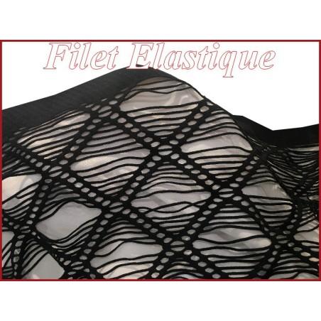 Tissu Filet Lycra Noir En Grande Largeur, Ajourés En carrées Pour Lingerie Et Customisations.