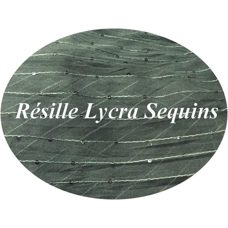 Tissu Résille kaki Lycra Orné de sequins Au Mètre.