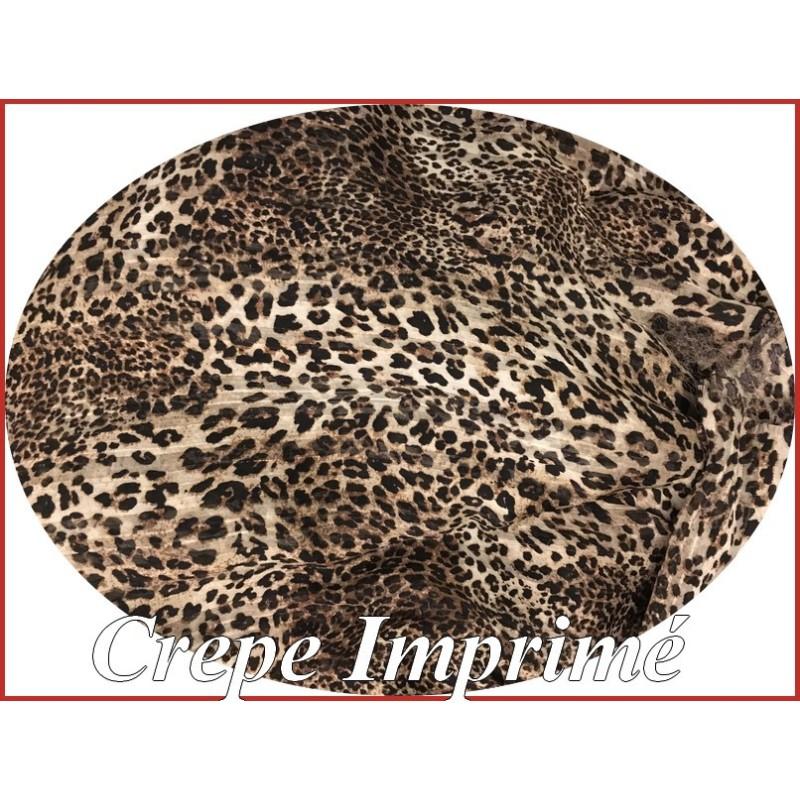 Tissu Crêpe Imprimé Léopard A Coudre, Pour Chemisers, Jupes, Et Customisations.