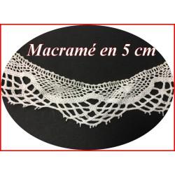 Galon Macramé Blanc En 5 cm Motif Festonné A Coudre.