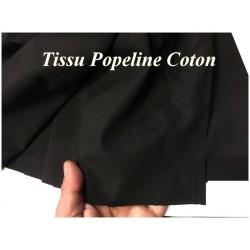 Tissu Popeline Noir En Coton Au Mètre En Grande Largeur