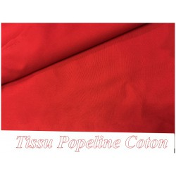Tissu Popeline Rouge En Coton Au Mètre En Grande Largeur