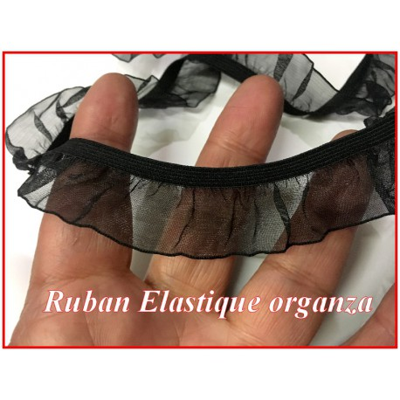Galon Ruban Organza Noir Lycra En En 2 Cm A Coudre.