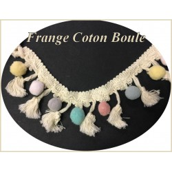 Frange Ecru En 5 Cm Au Mètre En Pompons Et Boules Multicolor Pour Loisirs Créatifs.