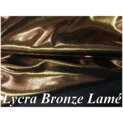 Tissu Lycra BROnze Lurex Lamé Métal A Coudre Pour Vetements De Danse Et Lingerie.