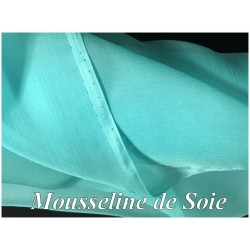 Tissu Mousseline De Soie Turquoise Couture Au Mètre.