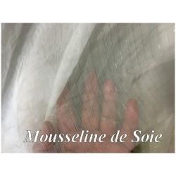 Tissu Mousseline De Soie Blanche Orné De Fil Rayure Argent Couture Au Mètre.