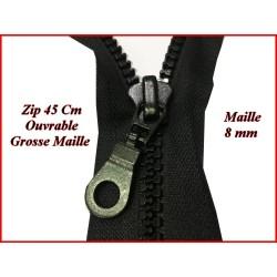 Fermeture Eclair En 45 Cm A Glissière Noir Ouvrable Grosse maille de 8 mm En Plastique Injecté A Coudre.