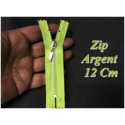 Fermeture ZIp Argent En 12 cm Vert Fluo Non Ouvrable