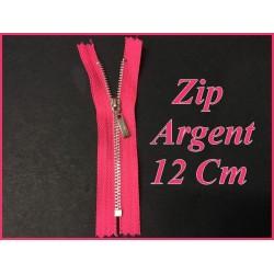 Fermeture ZIp Argent En 12 cm Fuschia Fluo Non Ouvrable