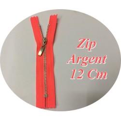 Fermeture ZIp Argent En 12 cm Orange Fluo Non Ouvrable
