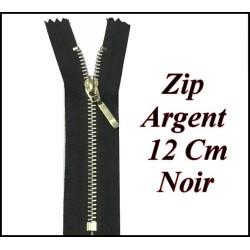 Fermeture ZIp Argent En 12 cm Noir Non Ouvrable
