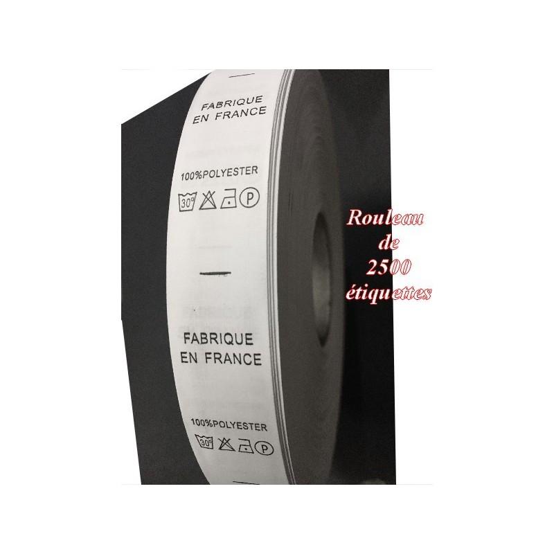 """Etiquette De Vêtements 100 % Polyester x Par 2500 Pièces A Coudre De Composition Textile , Contexture """" FABRIQUE EN FRANCE """"."""