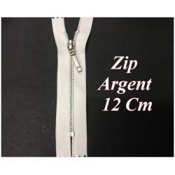 Fermeture ZIp Argent En 12 cm Blanc Non Ouvrable