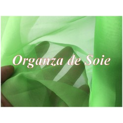 Tissu Organza De Soie Vert Anis Au Mètre Couture.