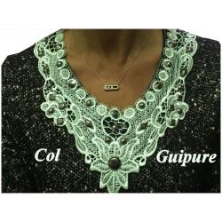 Col Guipure Dentelle Vert D'eau Clouté Pour Customisations.