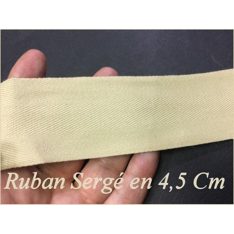 Ruban Sergé Beige Au Mètre En Grande Largeur De 4,5 Cm En Coton A Coudre Pour Loisirs Créatifs Et Décorations.