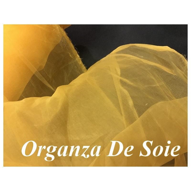 Tissu Organza De Soie Orange Au Mètre Couture.