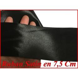 Ruban Satin Noir En 75 mm / 7,5 Cm Au Mètre Pour Décorations Et Loisirs Créatifs