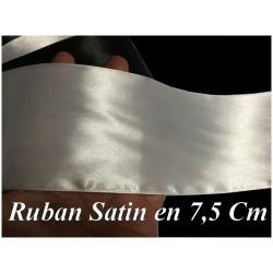 Ruban Satin Blanc En 75 mm / 7,5 Cm Au Mètre Pour Décorations Et Loisirs Créatifs