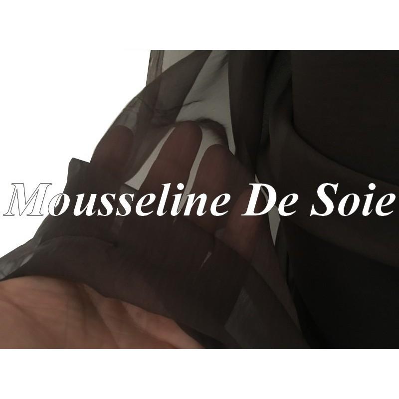Tissu Mousseline De Soie Lisse Marron Foncé Couture Au Mètre.