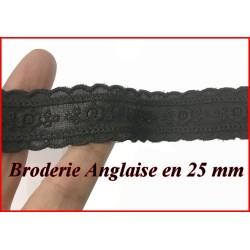 Broderie Anglaise Noir En 25 mm En Tissu Coton Au Mètre , Pour Loisirs Créatifs.