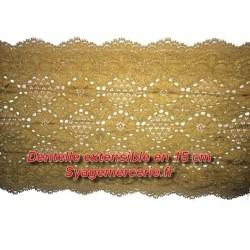 Dentelle Lycra En 15 Cm Couleur Moutarde Pour Customisations Et Décorations.