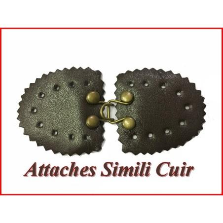 Attache En 2 Parties En Simili Cuir Marron A Coudre PouR Décorations De Sacs, Vestes, Tailleurs.