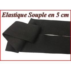elastique Noir Souple Plat en 5 Cm Au Mètre Pour Lingerie Et Customisations