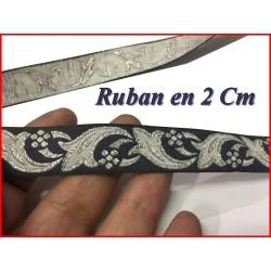 Galon Ruban Argent Fantaisie Argent Sur Fond Marine en 2 Cm.