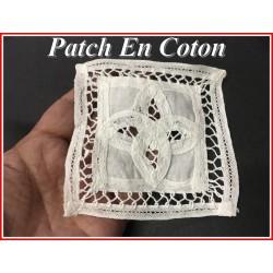 Motif Patch En Coton Blanc A Coudre